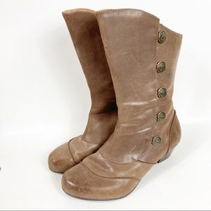 AETREX Naomi Leather Mid-Calf Brown Boots 8.5